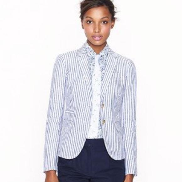 J Crew Jackets Coats J Crew Cotton Seersucker Blazer Size 6